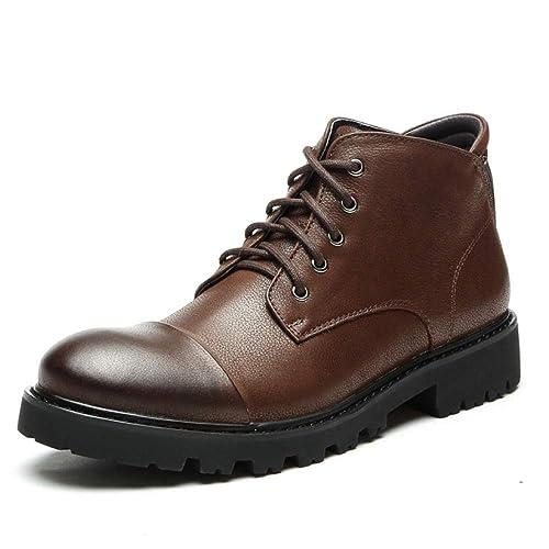 Zapatos De Cuero con Cordones para Hombre Botines Botines del Ejército Militar Zapatos De Tacón Alto