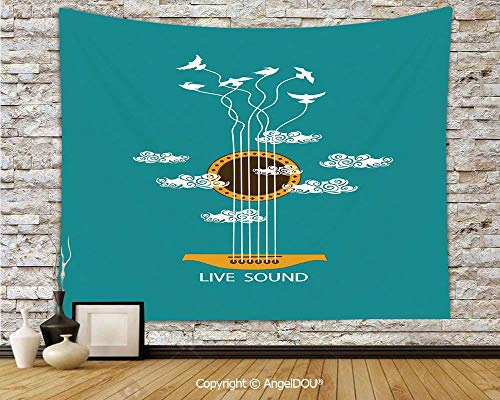 AngelDOU Guitar Camping Tent Travel Mattress Tapestry Abstract Music Themed with Birds on Strings and Clouds Illustration Polyester Thin Tapestry.W59xL51.2(inch) ()