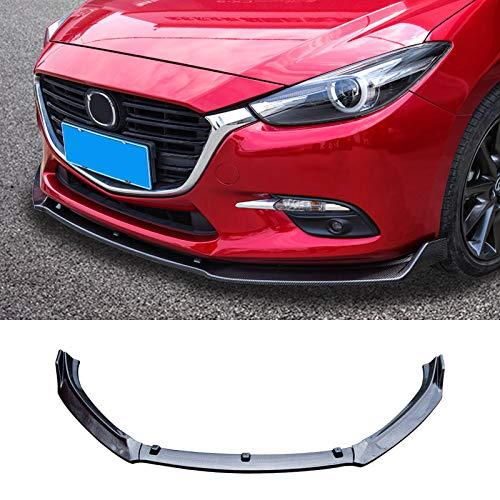 ABS Carbon Fiber Car Front Bumper Lip Spoiler Protector Cover Trim 3PCS Fit for Mazda 3 M3 Axela 2014-2018