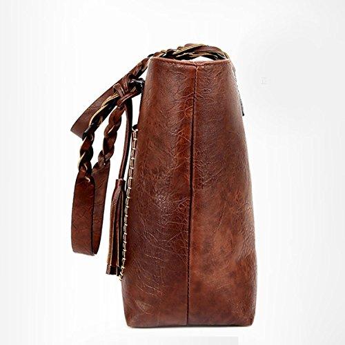 Bolsos De Las Mujeres Bolsos De Cuero De La PU Bolsas De Hombro Satchel Zipper Cross Body Bags Brown