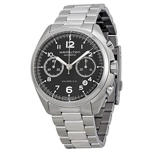 Hamilton Pilot Pioneer Automatic Chronograph Black Dial Stainless Steel Mens Watch H76416135