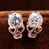 All Products : Diansts(TM) Rose Gold Women Tone Crystal Diamond Skull Pierced Stud Earrings Jewelry NEW