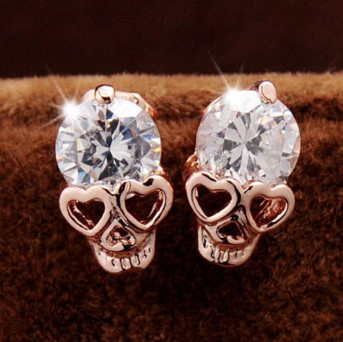 Diansts(TM) Rose Gold Women Tone Crystal Diamond Skull Pierced Stud Earrings Jewelry...