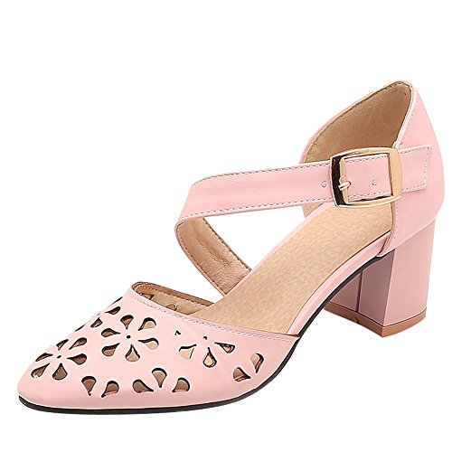 Mee Shoes Damen Chunky heess Schnalle Hollow Out Pumps Pink