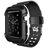 Apple Watch Band 42mm with Case,VICTHY Shockproof TPU Rugged Protective Case with Strap Bands for Apple Watch Series 1 Series 2 Series 3 Nike+ Hermès Sport Edition 42mm Black