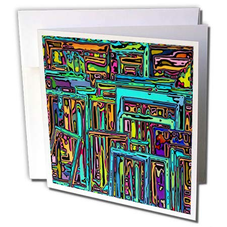 3dRose Perkins Designs - Graphic Design - Modern Art of vibrantly Colored Rectangular Shapes chaotically Stacked - 6 Greeting Cards with envelopes (gc_292652_1)