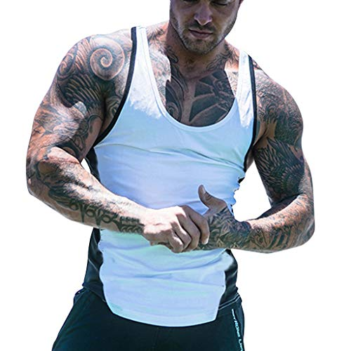 URIBAKE ⭐️ Men's Summer Casual Sleeveless Tank Tops Simple Colour Block Splice Sports Fitness Vest White
