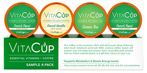 VitaCup K-Cups Variety Sample Pack with 2 French Roast Coffee, 1 French Vanilla, 1 Matcha Green Tea in Single Serve Keurig Compatible Pods - Keurig Sugar Free Coffee