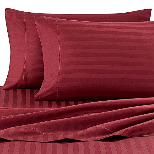 Wamsutta Damask Stripe 500-Thread-Count PimaCott Queen Sheet Set in Burgundy … ()
