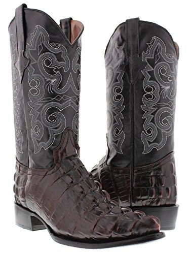 Team West - Men's Black Cherry Crocodile Tail Leather Cowboy Boots J Toe 9.5 E US