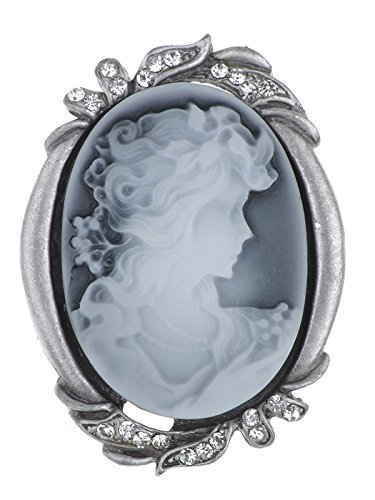 (Alilang Silvery Tone Clear Crystal Colored Rhinestones Grey Vintage Cameo Lady Brooch Pin)