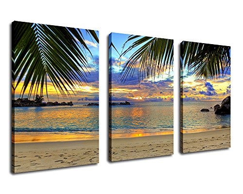 Wall Art Beach Sunset Canvas Artwork Tropical Ocean Palm Tree Leaf Beach Coast, Large 3 Pieces x 20