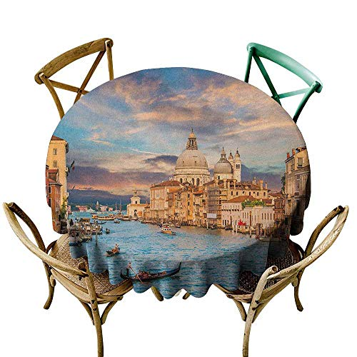 oor Tablecloth Venice Gondola on Famous Canal Grande with Basilica di Santa Maria Della Salute in Evening Blue Cream Party Decorations Table Cover Cloth 55 INCH ()