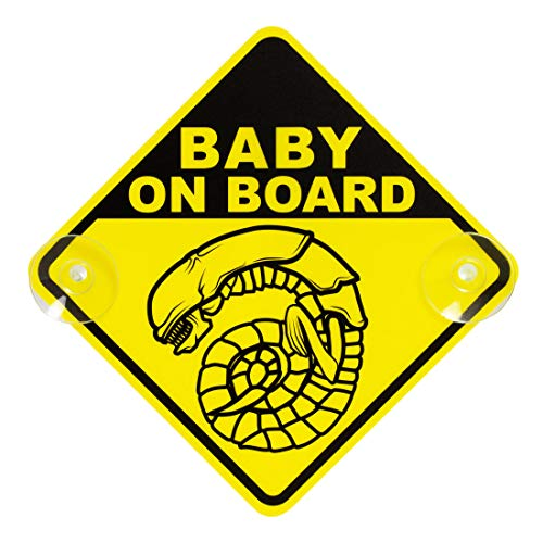 getDigital Chestburster Baby on Board Car Window Sign - Yellow Safety Sign with 2 Suction Cups inspired by the Sci-Fi Alien Movies - 6.3 x 6.3 inch