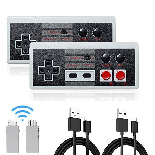 Wireless NES Mini Classic Rechargeable Controller,NES Wireless Gamepad for Nintendo Mini NES Classic Edition, Wireless Joypad & Gamepads Controller (2 Pack)