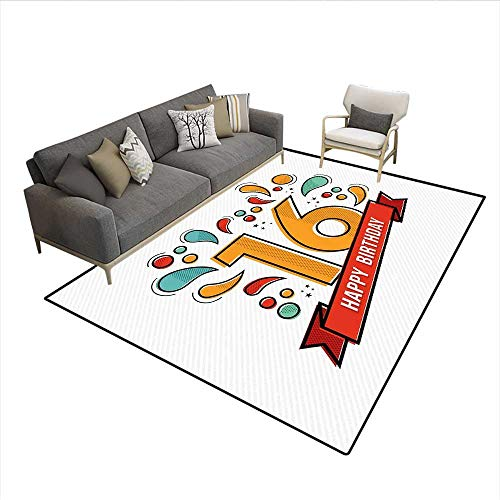 Floor Mat,Festive New Age Modern Party Invitation Funky Teenage Typography Artwork,Rugs for Bedroom,Multicolor 6'x9' -