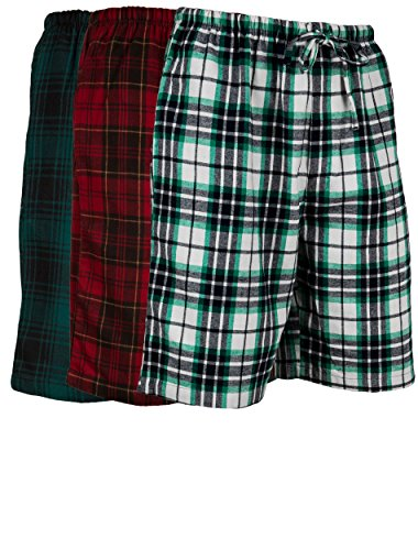 Andrew Scott Men's 3 Pack Light Weight Cotton Flannel Soft Fleece Brush Woven Pajama/Lounge Sleep Shorts (3 Pack - Assorted Classics Plaids, XXXXX-Large) -