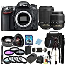 Nikon D7100 DSLR Camera - International Version (No Warranty) w/Nikon 18-55mm VR & 55-200 AF-S DX Nikkor Lens. Includes Wide Angle Lens + MORE