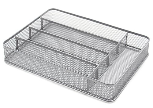 ESYLIFE 5 Compartment Mesh Kitchen Cutlery Trays Silverware Storage Kitchen Utensil Flatware Tray, (5 Compartment Cutlery Tray)