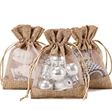 WRAPAHOLIC 4x5.5 inch 10 pcs Burlap Drawstring Gift Bag - Burlap with One Side Organza Wedding Party Welcome Favor Bags - Tan