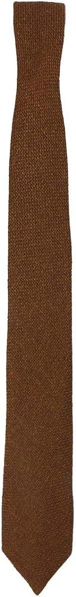 Mens /& Boys Matching Cinnamon Brown Slim Tweed Tie and Pocket Square Set