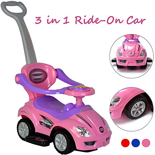 ChromeWheels 3 in 1 Ride on Toys Pushing Car with Guardrail,Mega Car for Toddler Wagon Handle Stroller,Color Pink