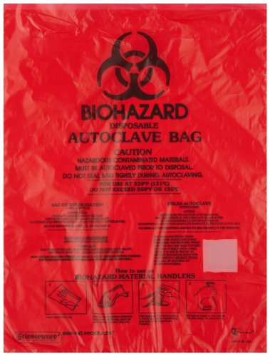 (Bel-Art F13166-0001 Bench-Top Biohazard Bags; Red Polyethylene, 0.43 Gallon, 8.5W x 11 in. H, 0.018mm Thick (Pack of 1000))