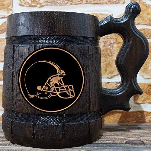 Beer Nfl Personalized - Cleveland Browns Beer Mug, American Football Wooden Beer Stein, NFL Sport Gift, Personalized Beer Stein, Cleveland Browns Tankard, Custom Gift for Men, Gift for Him