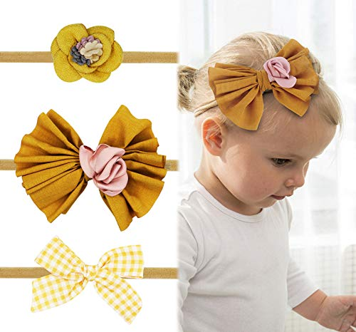 Baby Girl Headbands Bows flowers,3 Pack Hair Accessories for Newborn Infant Toddler Gift by FANCY CLOUDS (y1)