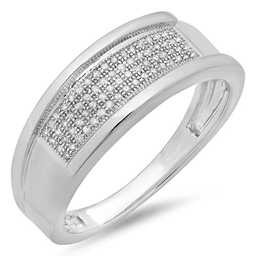 0.20 Carat (ctw) Sterling Silver Round Diamond Men's Micro Pave Hip Hop Wedding Band 1/5 CT (Size 12) by DazzlingRock Collection