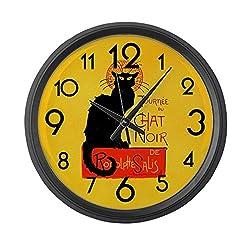 CafePress Chat Noir Black Cat Large 17 Round Wall Clock, Unique Decorative Clock