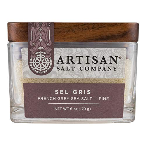 SaltWorks Sel Gris French Grey Sea Salt Fine Grain Artisan Glass Jar, 6 Ounce