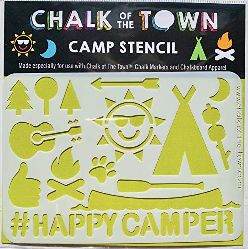 Chalk of the Town Camp Plastic Stencil for Kids