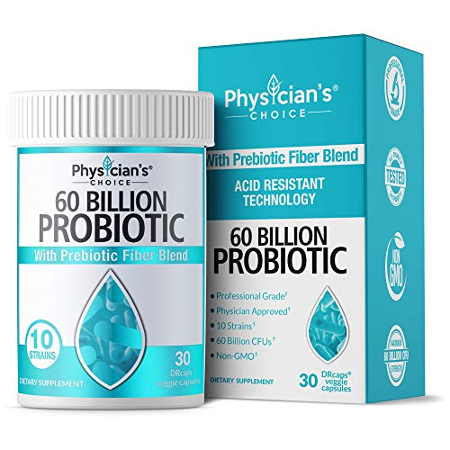 Probiotics 60 Billion CFU - Dr. Approved Probiotics for Women, Probiotics for Men and Adults, Natural; Shelf Stable Probiotic Supplement with Organic Prebiotic, Acidophilus Probiotic; 30 Capsules from Physician's CHOICE