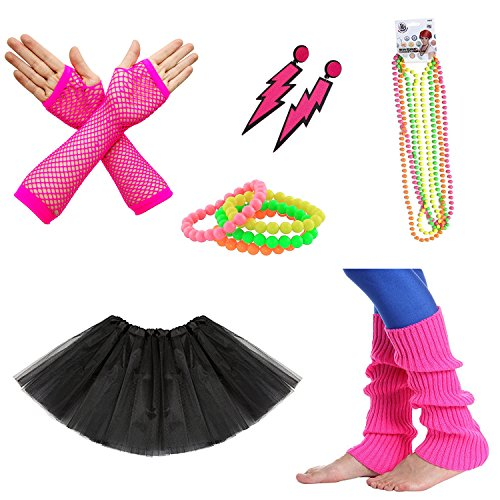 80s Neon Accessories (80s Facny Outfit Costume Accessories,Neon Earrings,Neon Bracelets and Necklaces, Leg Warmers,Fishnet Gloves,Black Adult Tutu Skirt,Set of 6)