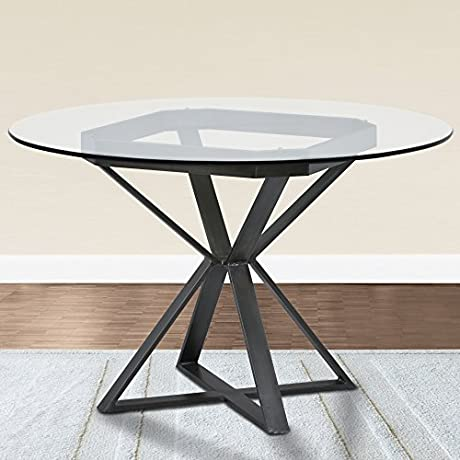 Armen Living LCCADIBAMF Cairo Dining Table With Clear Glass And Mineral Finish