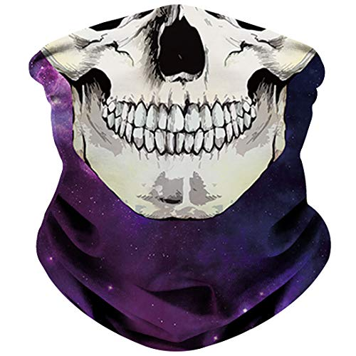 (NTBOKW Skull Mask Half Face Mask Bandana for Sun Dust Wind Protection Mask for Riding Motorcycle Cycling Fishing Hunting Summer Seamless Bandana Breathable Thin 3D Skeleton Tube Mask for Men)
