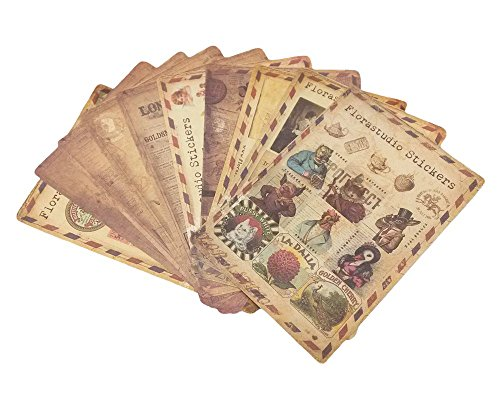 Honbay 10 Sheets Vintage Mix Pattern Pretty Sticker Paper Labels Set
