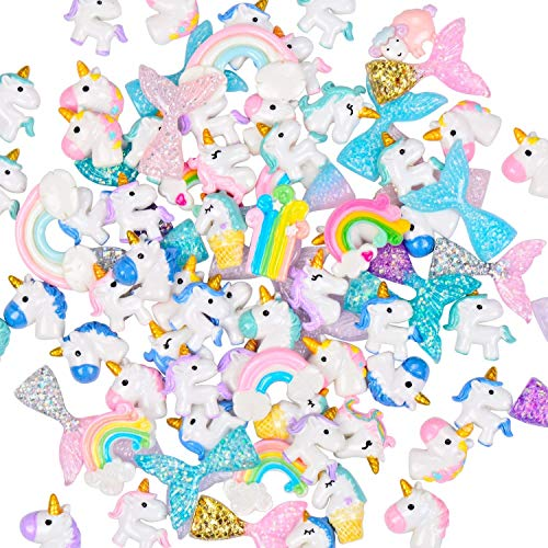 90pcs Plastic Slime Charms with Mermaid Tails/Unicorns/Rainbows Slime Beads Resin Flatback for Scrapbooking DIY Crafts]()