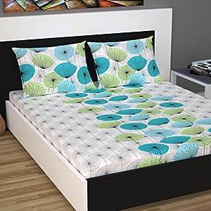 Divine Casa 100% Cotton 144 TC Floral Double Bedsheet Cotton with 2 Pillow Covers – Sky Blue