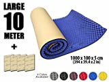 Egg Crate Foam Roll Arrowzoom New 1 Pack of 10 Meter (394 X 39.4 X 2 Inches) Convoluted Foam Soundproofing Insulation Adhesive Egg Crate Roll Acoustic Wall Foam Padding Studio Foam Sheet Tiles AZ1131 (BLUE)