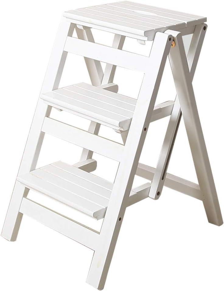 Plegable Multifuncional Escalera de Tijera de 3 peldaños de Madera Utilidad de la Silla de la Escalera Herramienta de Escalada para jardín Pesado (Blanco)