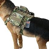 Excellent Elite Spanker Tactical Service Dog Vest Harness Training Molle Dog Vest with Detachable Patches Pouches (Multicam-L)