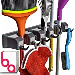 'Berry Ave Broom Holder and Garden Tool Organizer for Rake or Mop Handles Up To 1.25-Inches, Remove Clutter From Bathroom and Laundry Room, Closet and Garage Organization System (Black)' from the web at 'https://images-na.ssl-images-amazon.com/images/I/51PWRVBlm3L._AC_SR150,150_.jpg'