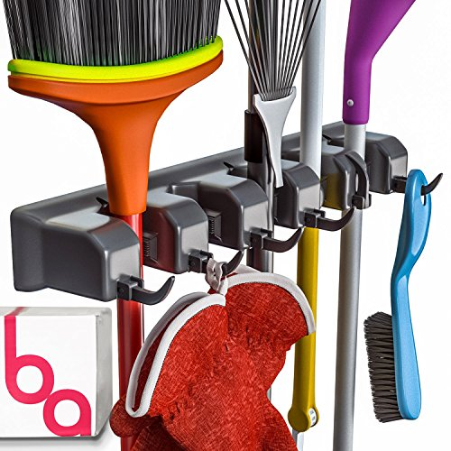 - Berry Ave Broom Holder and Garden Tool Organizer Rake or Mop Handles Up to 1.25-Inches, Small, Black