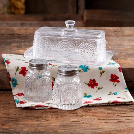 The Pioneer Woman Adeline Glass Butter Dish With Salt And Pepper Shaker Set, Turquoise | Stunning Adeline Butter Dish With Salt And Pepper Shaker Set (Clear) (Butter Dish Clay compare prices)