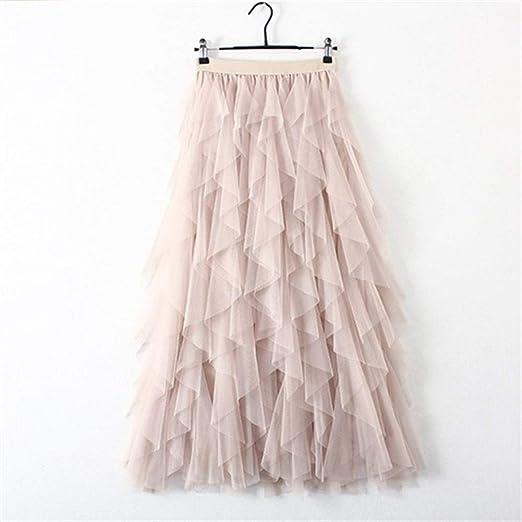 Huisongda Falda de Tul for Mujer de Cintura Alta Faldas Plisadas ...