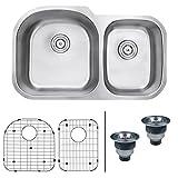 "Ruvati RVM4600 Undermount 16 Gauge 34"" Kitchen Sink Double Bowl with Left Configuration, Stainless Steel"
