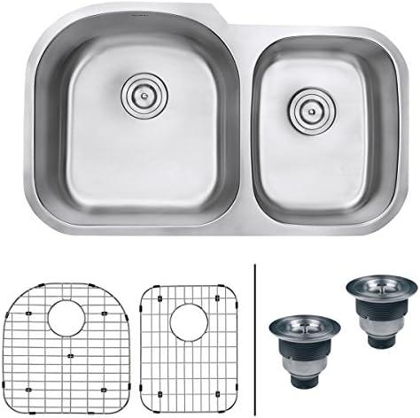 Ruvati 34-inch Undermount 60 40 Double Bowl 16 Gauge Stainless Steel Kitchen Sink – RVM4600