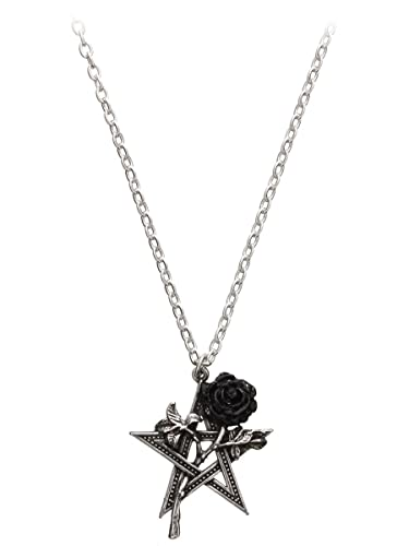Alchemy Gothic Pentagram and Black Rose Pendant Ruah Vered 5th Element Necklace KnFaZenir